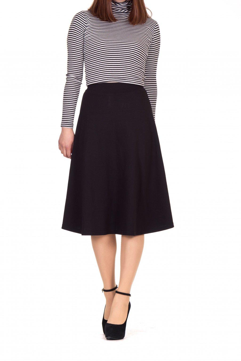 Dani's Choice Everyday High Waist A-Line Flared Skater Midi Skirt (M, Black)