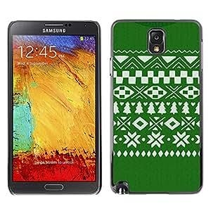 X-ray Impreso colorido protector duro espalda Funda piel de Shell para SAMSUNG Galaxy Note 3 III / N9000 / N9005 - Pattern Christmas Green White