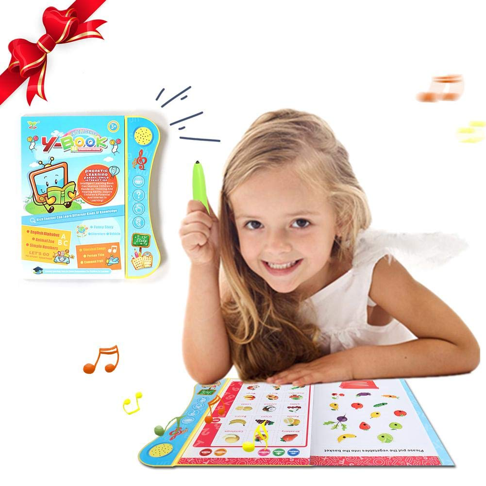 iBaste Childrens Educational Electric Audiobook,Toddler Early Chart Learning Machine Read E-Book Toy for English Letters /& Words Learning Cards
