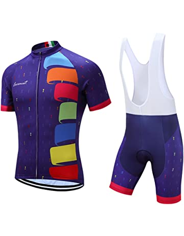 Men s Cycling Jersey Set Road Bike Jersye Short Sleeves Cycling Kits + Bib  Shorts with 3D b4d955b82