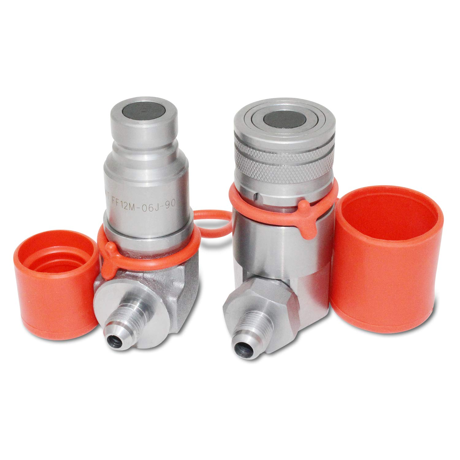 90 Degree Flat Face Skid Steer Hydraulic Quick Connect Coupler Set 3/8″ JIC Male Thread