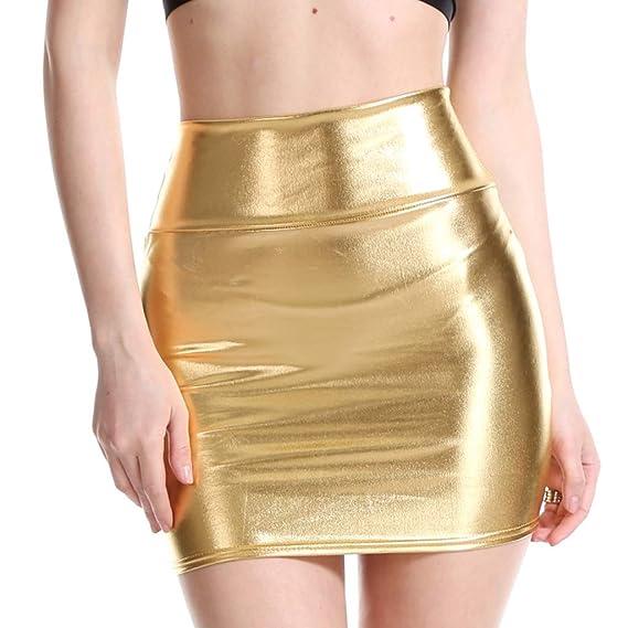 A0127 - Mini Falda para Mujer con Purpurina líquida, Metalizada ...