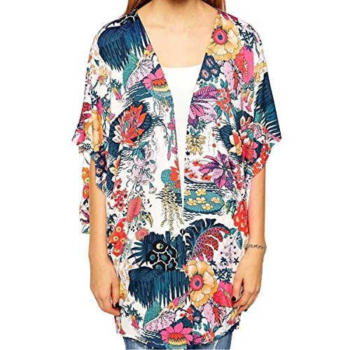 Adela Boutique Women Open Front Loose Cover-up Blouses Beachwear Boho Stylish Tops Cardigan (XL 16) from Adela Boutique