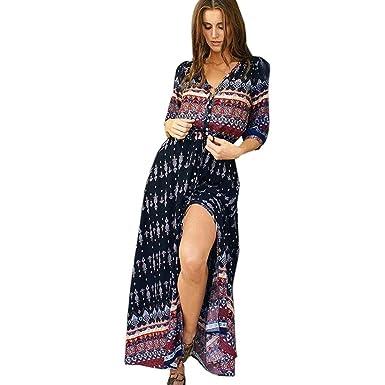 9580af1e642560 Sweetwill Boho Maxikleid Blumen Lange Sommerkleider Damen Maxi Strandkleid  Casual Langarm V-Ausschnitt Vintage Kleid für Frauen  Amazon.de  Bekleidung