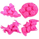 MoldFun 4pc/set Halloween Skull Bat Witch Ghost Shape Silicone Mold Tray for Chocolate Candy
