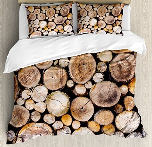 Ambesonne Rustic Duvet Cover Set Queen Size, Wooden Logs Background Circular Shaped Oak Tree Life and Growth Theme, Decorative 3 Piece Bedding Set with 2 Pillow Shams, Light and Sand ()