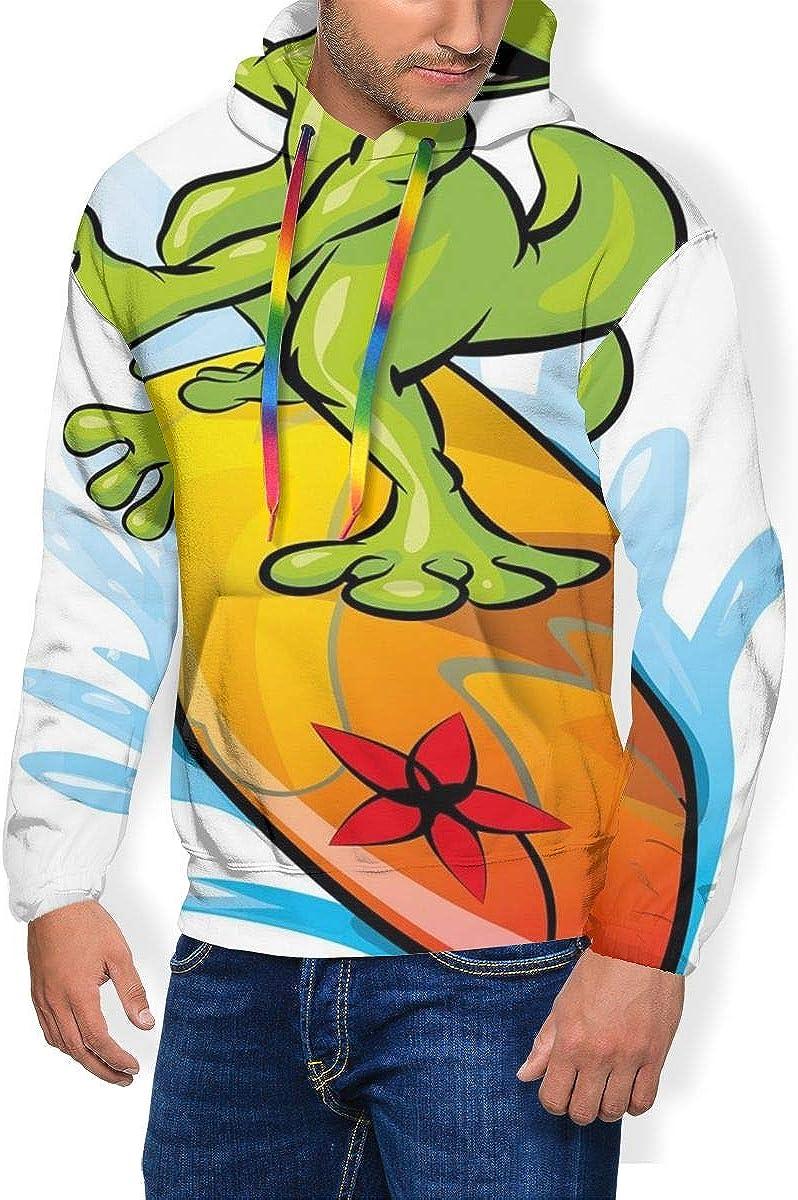 Men's Hoodie Thicken Fluff Sweatshirt,A Gecko Surfing with The Water Cute Animal Humor Cartoon XXL