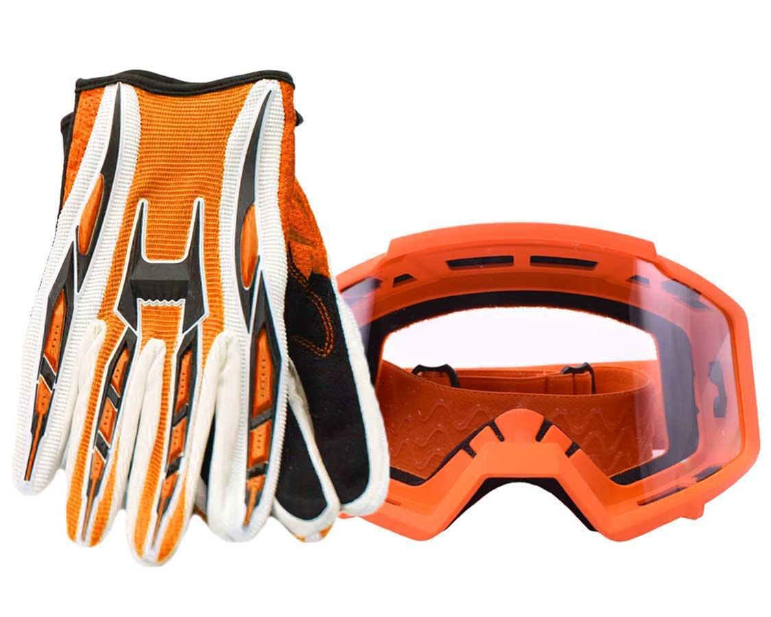 Typhoon Adult Glove & Goggle Combo Motocross Offroad ATV MX Dirt Bike - Orange - XL