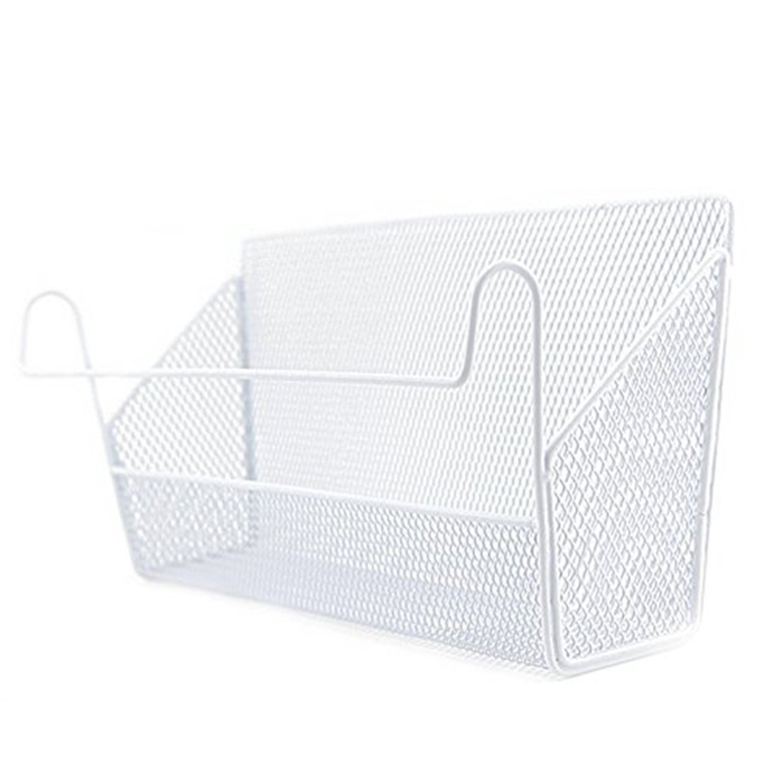Haoun Bedside Hanging Storage Basket Office Desk Dormitory Iron Mesh Origanizer Caddy for Book Phone Magazine Holder - White