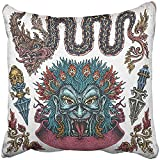 Throw Pillow Cover Square 18x18 Inches Black Shaman Hand Drawn of Old School Thai Ritual Tattoos Chinese Dragon Mask Peacock Tongue Tribal Polyester Decor Hidden Zipper Print On Pillowcases