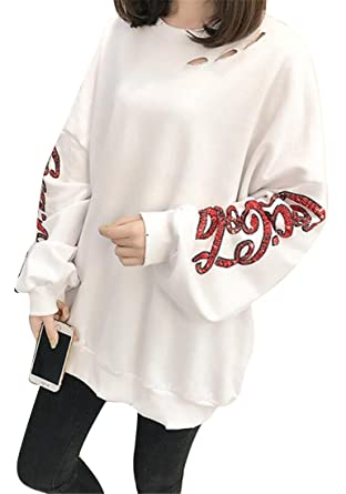 c21796682e615e Fensajomon Womens Printing Glitter Sequins Crewneck Casual Sport Loose  Pullover Sweatshirt Tops at Amazon Women's Clothing store: