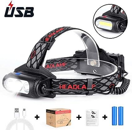 Haofy Linterna Frontal, LED Linterna de Cabeza Recargable USB ...