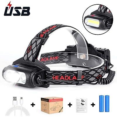 Haofy Linterna Frontal, LED Linterna de Cabeza Recargable USB Baterías, 6000 Lúmenes, 8 Modos de Luz, IPX54 Impermeable con Luz Roja de Advertencia para Ciclismo, Acampada, Senderismo, Pesca