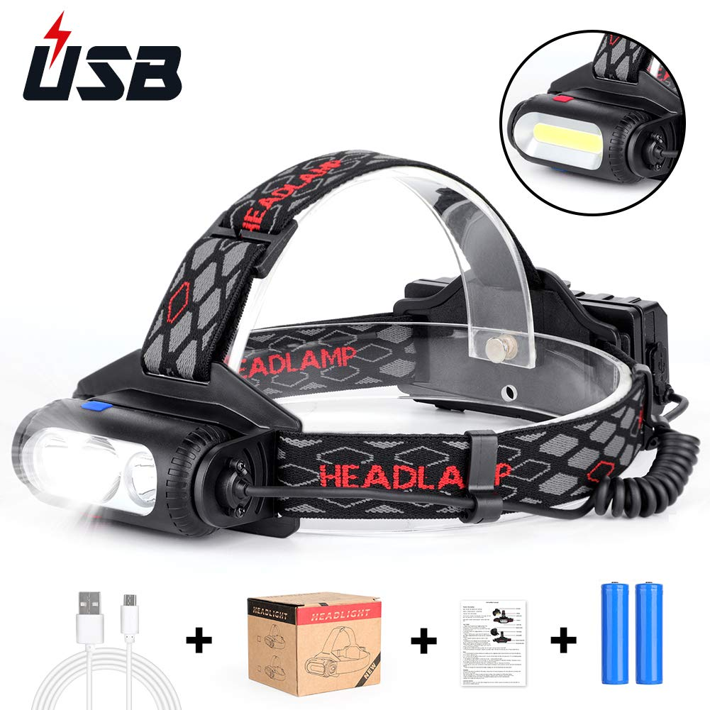 Torcia frontale a LED Torcia frontale, 6000 Lumen