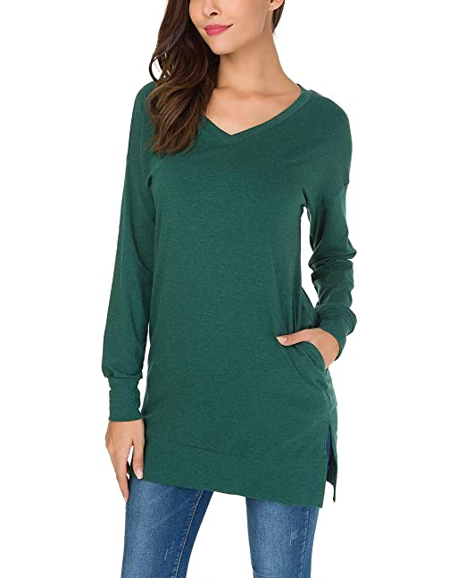 650873718ae6 Roshop Women Long Sleeve Tunic Top V Neck Casual Loose Blouse Shirts Plus  Size (S