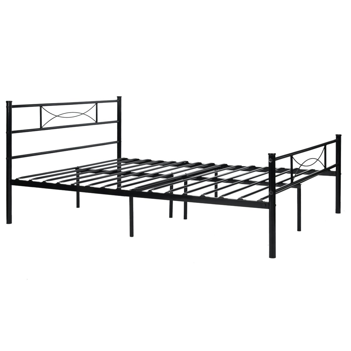 9d5d0d4c975 SimLife Steel Double Platform Box Spring Needed Black Metal Bed Frame Full  Size 10 Legs Two Headboards Mattress Foundation - unknown   Bed Frames    Home ...