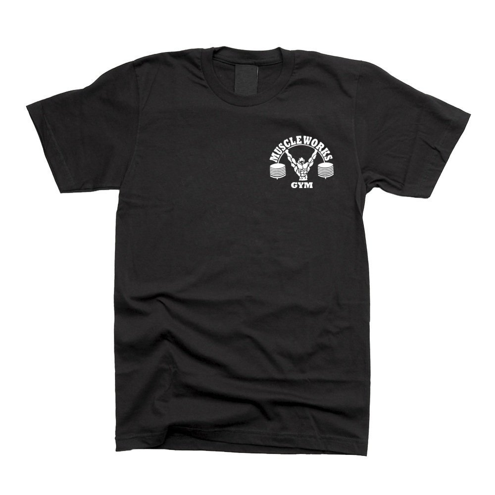 Muscle Works Gym M/úsculo Funciona Gimnasio Camiseta Entrenamiento Camiseta Negro est/ética Fit