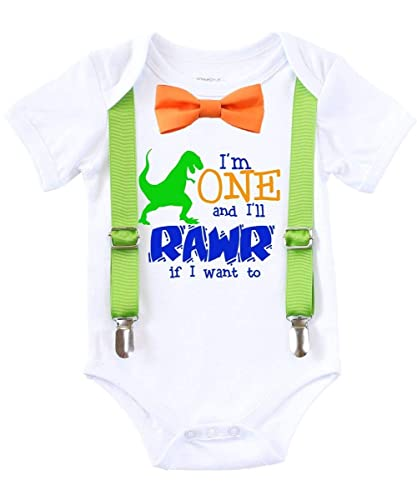 Amazon Dinosaur First Birthday Shirt Outfit Boy One Rawr Bow Tie Suspenders Handmade