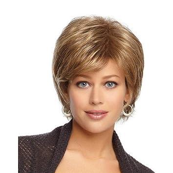 GAIHU Corta peluca rubia rizada esponjosas Brown Full Synthetic resistencia al calor de cabello para mujeres