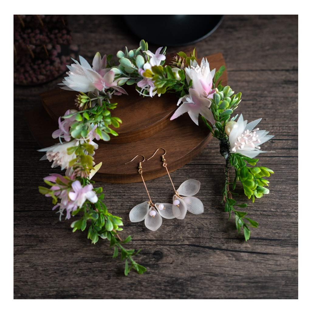 Wreath Flower Bride Headdress Korean Super Fairy Girl Hair Accessories Earrings Set Wedding Dress Accessories