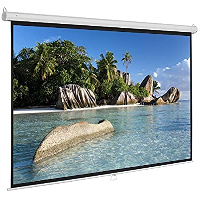 ShowMaven 100 inch 16:9 HD Projector Screen, Home Theater Education Office Presentation Manual Pull Down Projection Screen for Indoor Wall or Ceiling Mounting