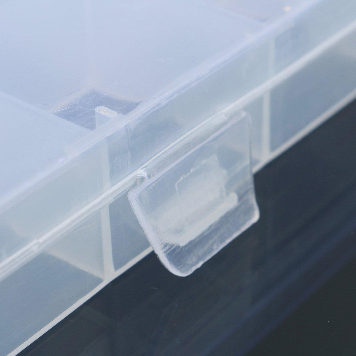 SODIAL 24 Compartments Plastic Box Case Jewelry Bead Storage Container Craft Organizer