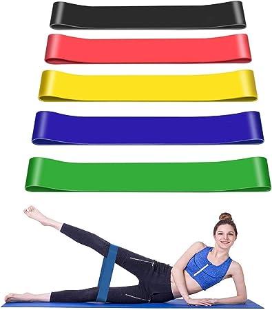 Set de 5 Niveles Bandas Elasticas de Fitness//Bandas de Resistencia, Crossfit con Bolsa y Caja de Almacenamiento Cintas El/ásticas Musculacion Hechas de L/átex Eco Friendly para Yoga Pilates