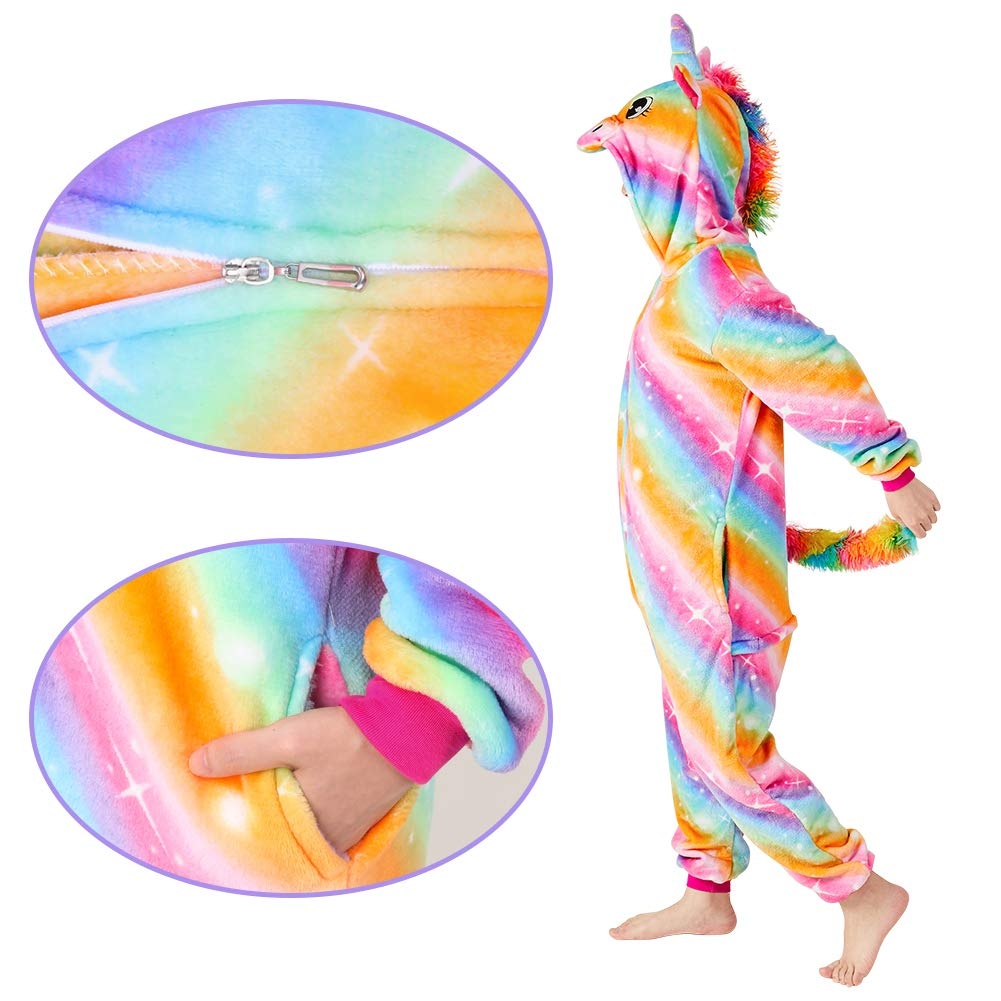Beinou Kids Unicorn Pajamas Hooded Dressing Gown Halloween School Cosplay Costume Animal Sleepsuit Outfit Soft Fluffy Fleece Rainbow Star Panda Jumpsuit Playsuit Girls Boys Gift