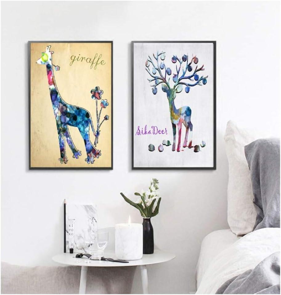 xwpox Acuarela nórdica Ciervos Abstractos Cuadros Decorativos Imagen Modular Arte de la Pared Pintura de la Lona para la Sala de Estar sin Marco C 20x28 Inch (50x70 cm)