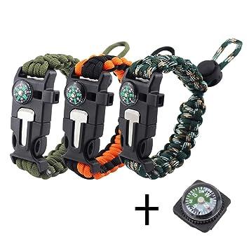 455211693a35 REKYO Pulsera de la supervivencia de, brazalete de Paracord, pulsera de  emergencia al aire libre, Kit de engranaje de la supervivencia con  iniciador ...