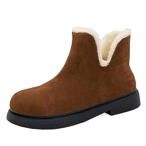 Moda Calzado Zapatos Invierno Calientes Casual Planas Zapatos Zapatos de tacón Cuadrado Mantenga cálidas Botas sin Cordones Zapatos de Punta Redonda ...