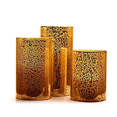 """Antizer Glass Appearance Flameless Candles 4"""" 5"""" 6"""" Set of 3 Dripless Real Wax Pillars Include Realistic Flicker LED Flames and 10-key Remote Control with 24-hour Timer Function"""