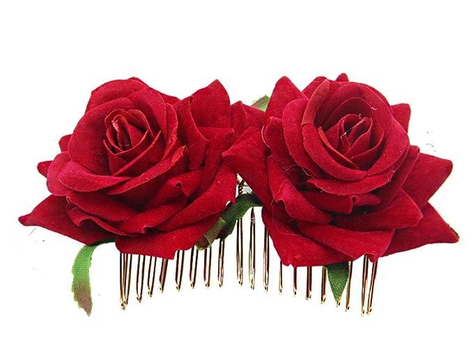 Amazon.com: Broche de flor de rosas para el pelo, diseño de ...