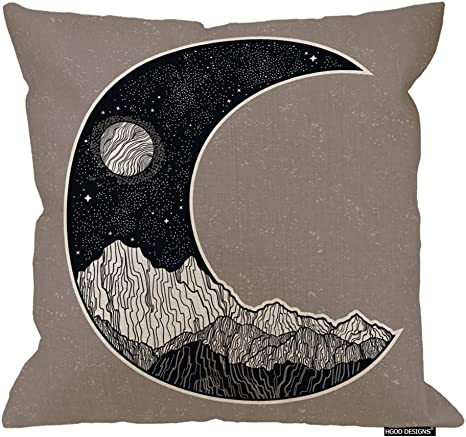Amazon Com Hgod Designs Moon Cushion Cover Abstract Night Sky And Mountains Landscape In The Form Of A Crescent Moon Cotton Linen Decorative Square Accent Pillow Case 24 X 24 Inches Home Kitchen
