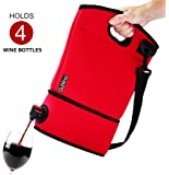 DuVino BAG IT! Neoprene Wine Purse - BYOB Wine Tote Carrier - Great Wine Gifts for Women or Her! Wine to Go Made Easy! (Red)