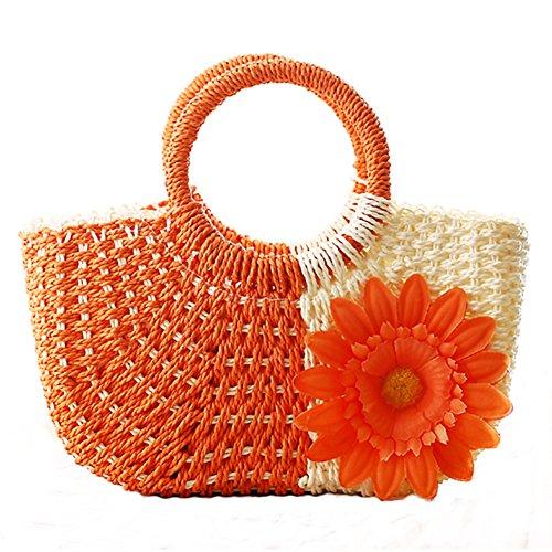 Flower Bags Straw Small Tote Bag Summer Women Weave Orange Beach Bag Handbag Turelifes Bucket 8IBHTxRnn