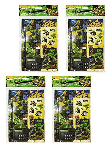 Set of 4 Teenage Mutant Ninja Turtles 7 Piece Calculator School Supply Set (Set of 4)