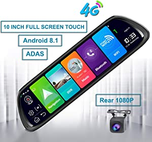 ShiZhen D30 10 inch Full Screen 4G Touch IPS Universal Bundled Car Dash Cam Rear View Reversing Mirror with GPS Navi Bluetooth Music WiFi Android 8.1 Dual Lens FHD 1080P