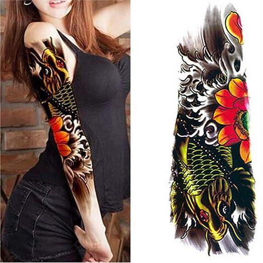 3 Nuevas Pegatinas de Tatuaje de Brazo Completo de Flor de 48 cm ...