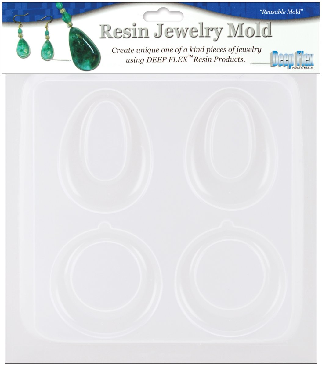 Yaley Resin Jewelry Reusable Plastic Mold, 5-1/2 by 7-Inch, Earrings 2 Pairs 368240
