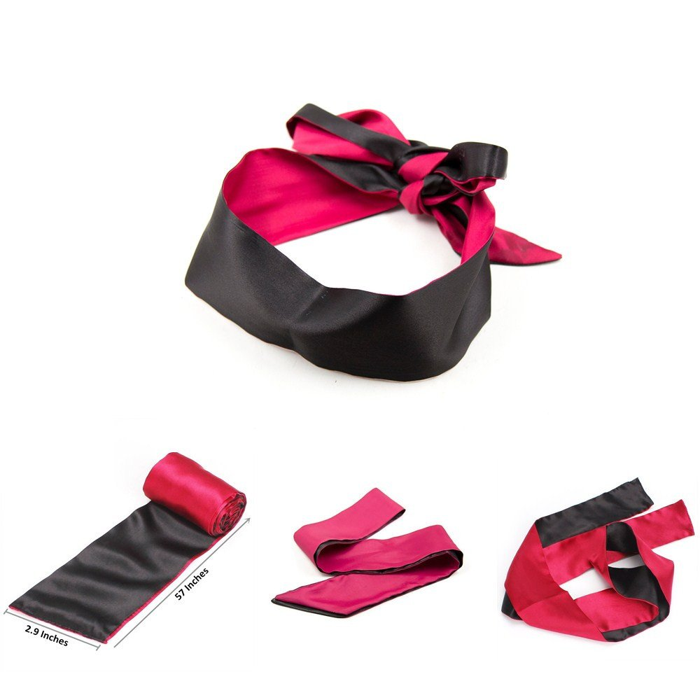Satin Blindfold Soft Eye Mask Band Blinder Comfortable Sleep Masks (Black+Red) STTQYB
