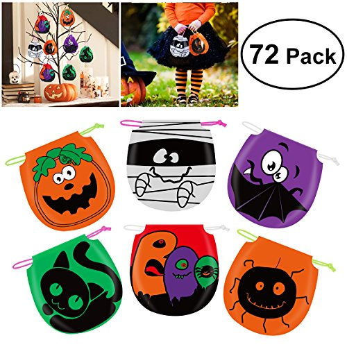 Unomor Halloween Candy Bags Drawstring Kids Trick Treat Bags, Pack of 72 ()