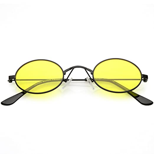 62f01c3ec9 sunglassLA - Extreme Small Oval Sunglasses Color Tinted Flat Lens 44mm  (Black Yellow)