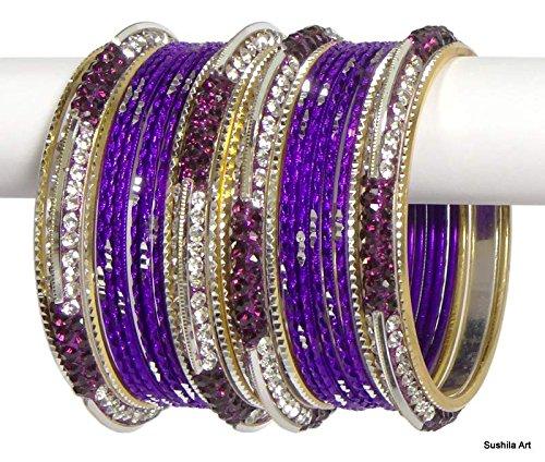 [Set of 24 Indian Ethnic Bangles Costume Bollywood Belly Dance Bracelets Carbon Purple-2.10 (Inner Diameter 2.62] (Ethnic Dance Costume)