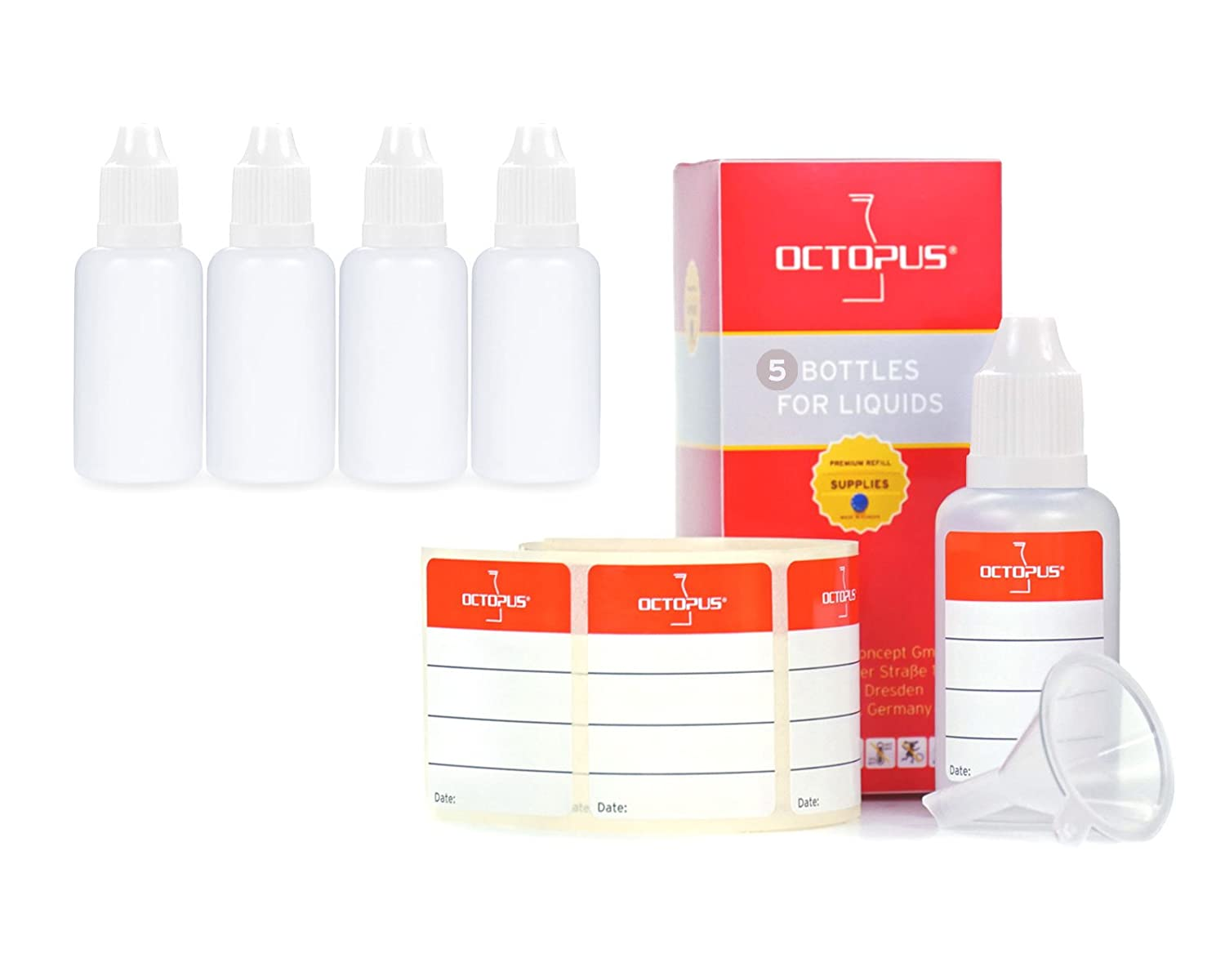 5 x 30 ml Octopus dropper bottles for dosing liquids, e-liquids, eye drops, empty LDPE plastic bottles transparent, plastic bottles with dripping caps, with child safety lock, incl. 5 labels Octopus Concept GmbH