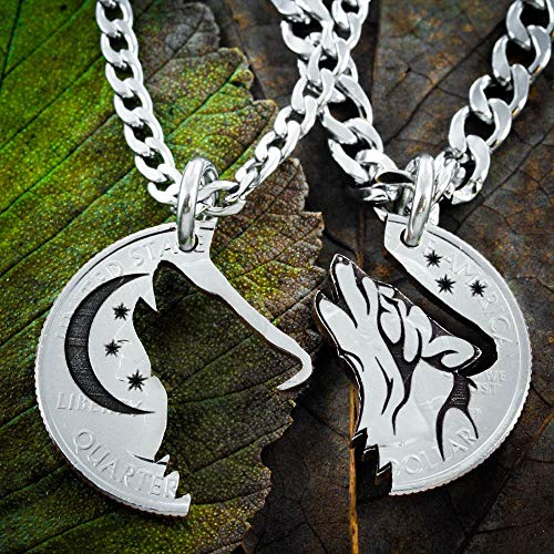Howling Tribal Wolf with Moon Interlocking necklaces, Best Friends jewelry, Coin that has been cut and etched. His and Hers set, Custom engraved, etched, and cut, By NameCoins