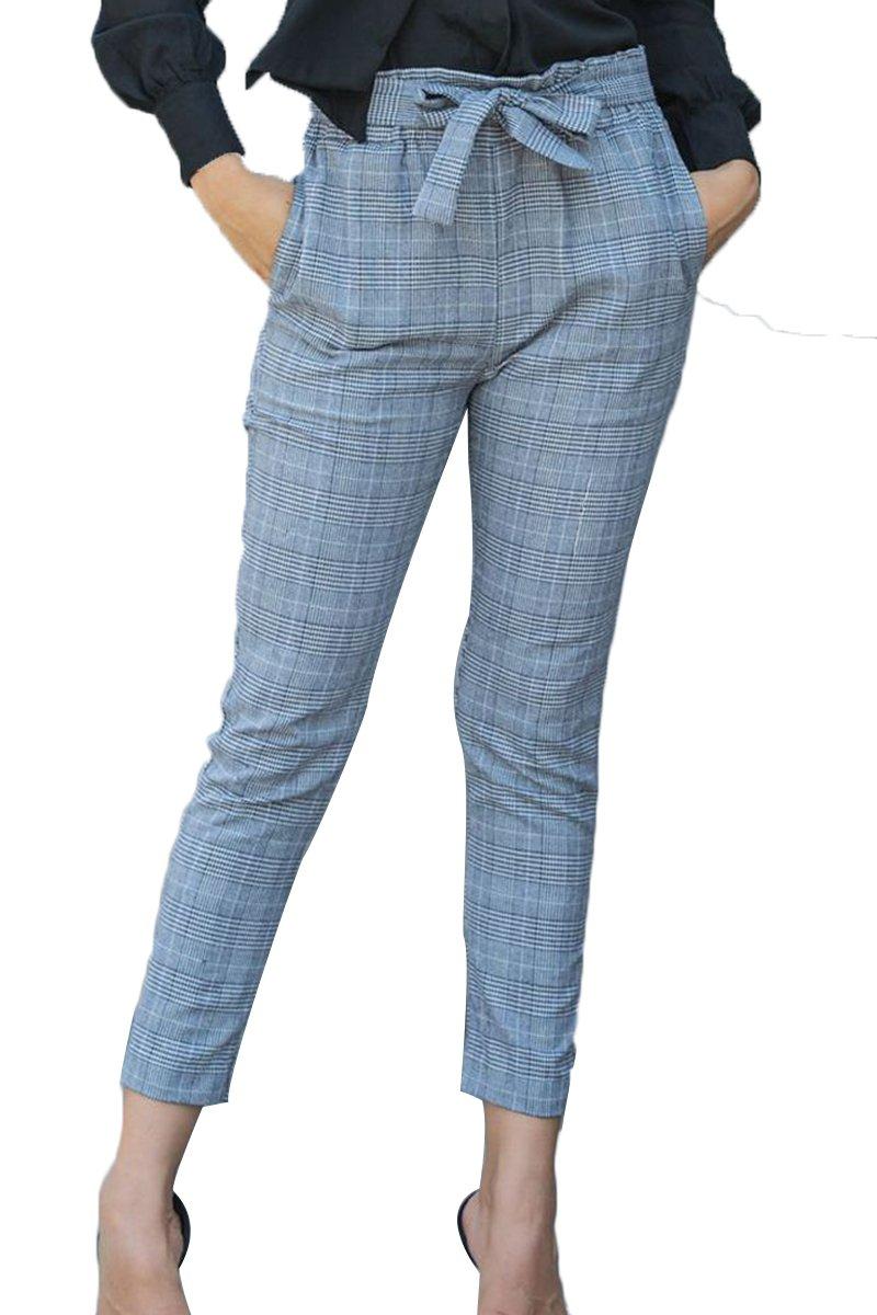 Almaree Woman's Paper Bag Waist Tie Belt Plaid Pants Cigarette Trousers Gray S