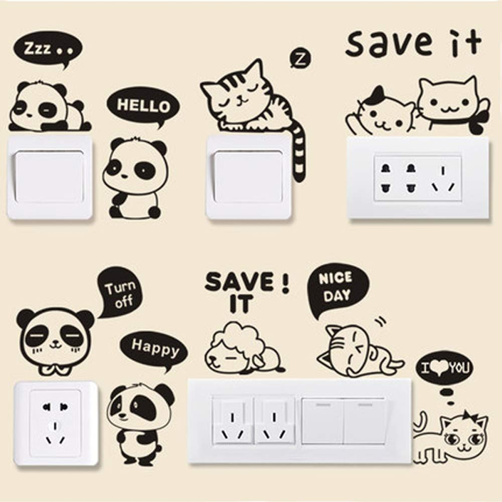SAMSHINE Switch Stickers 24 Pcs Removable Laptop Sticker Cute Cartoon Wall Decor Decals for Bedroom Home Decoration (24 PCS)