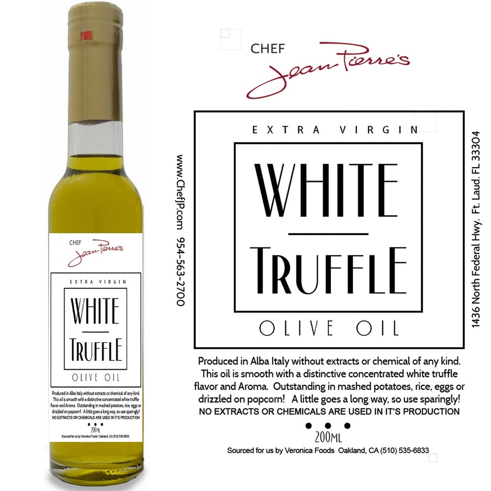 White Truffle Oil SUPER CONCENTRATED 200ml (7oz) 100% Natural NO ARTIFICIAL ANYTHING by Chef Jean-Pierre's