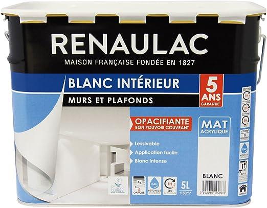 Renaulac C Rezineco 00000 5l Peinture Intérieur Murs Plafonds Bicouche Acrylique Blanc Mat 5l 50m
